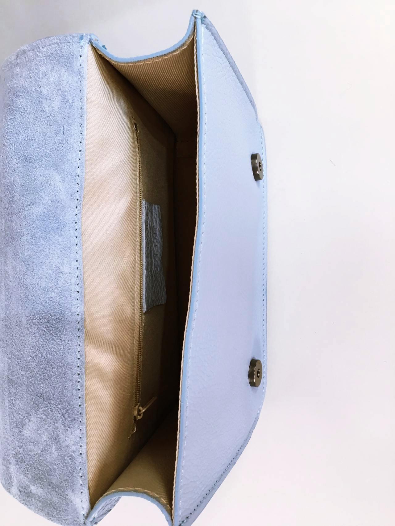 Kožená kabelka Donna světle modrá 06