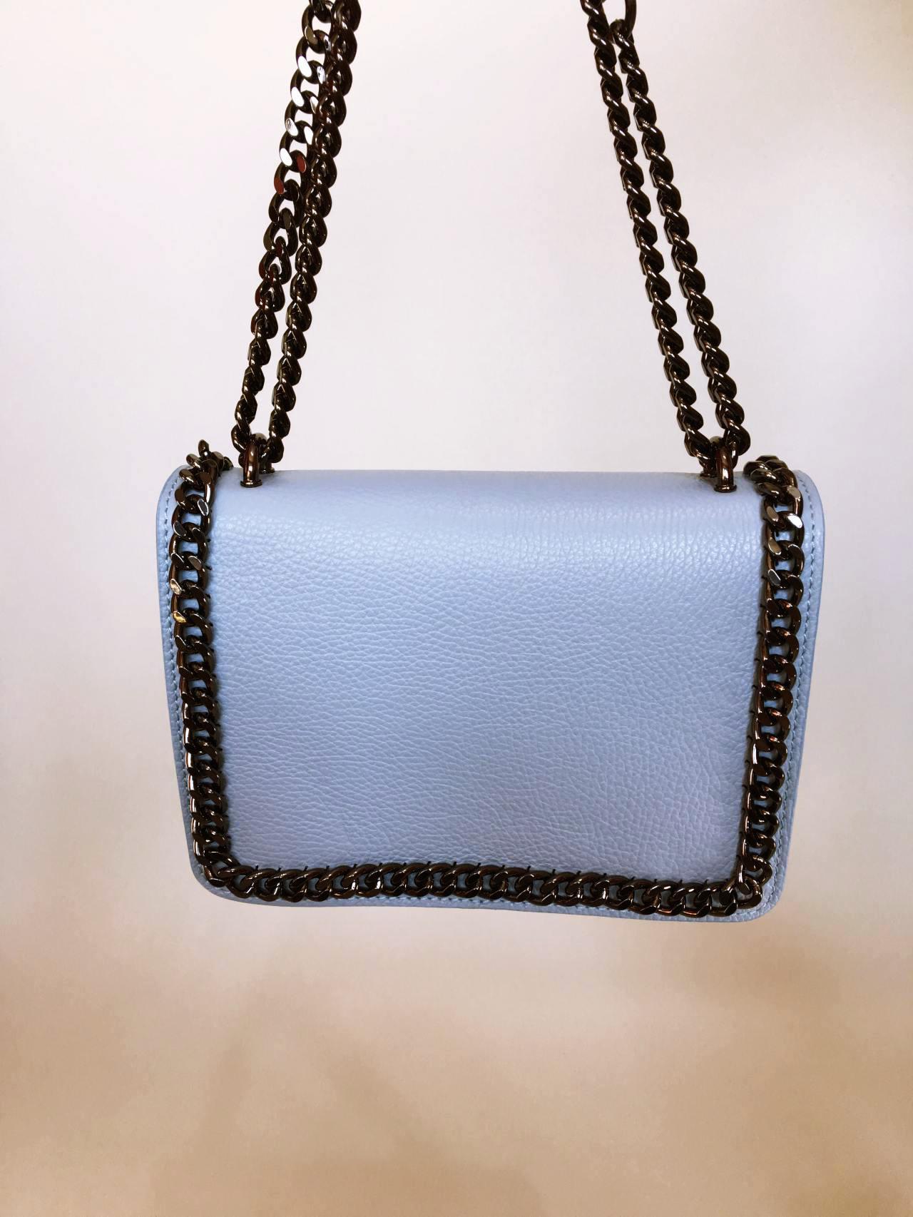 Kožená kabelka Donna světle modrá 07