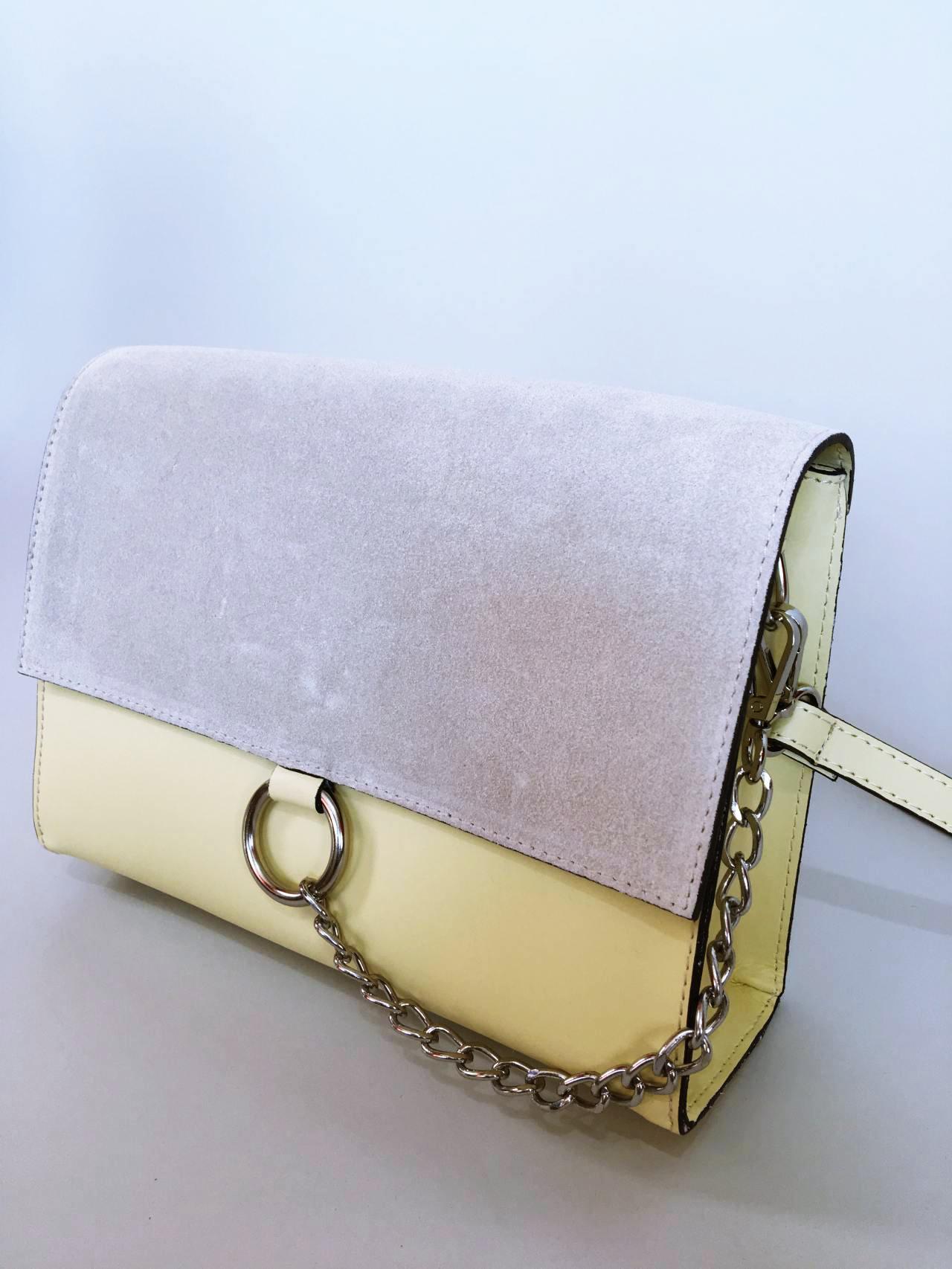 Kožená kabelka Izzy světle žlutá 02