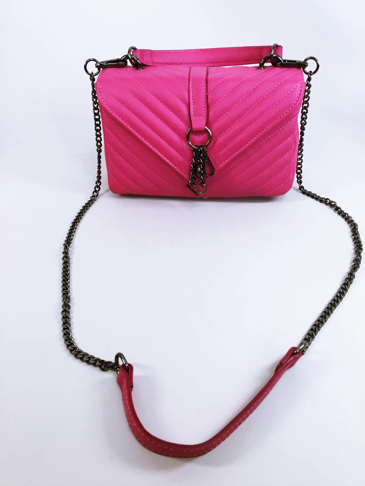 Kožená kabelka Lilly růžová 01