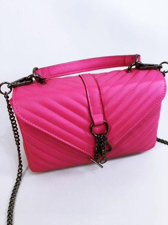 Kožená kabelka Lilly růžová 02