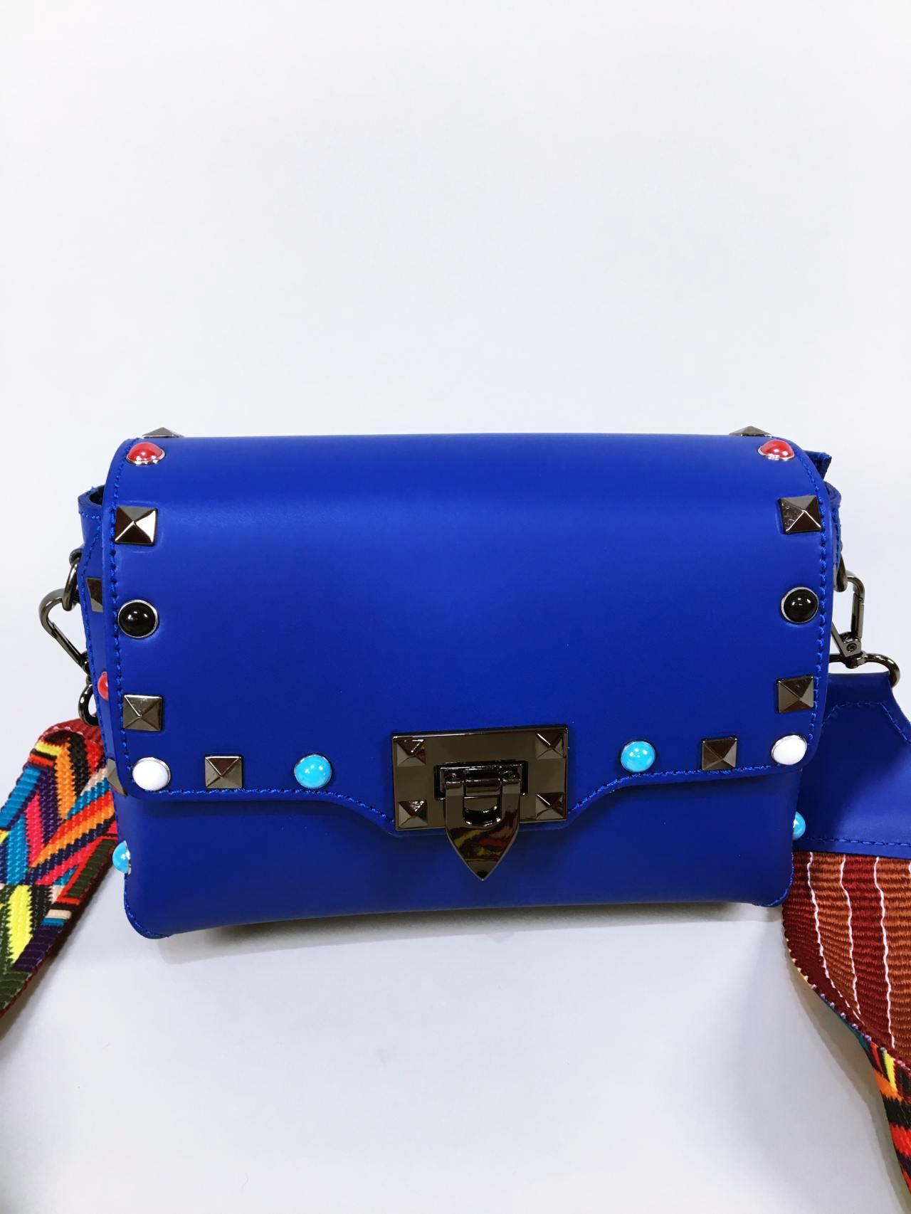 Kožená kabelka Sára modrá 01