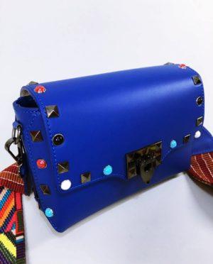 Kožená kabelka Sára modrá 02
