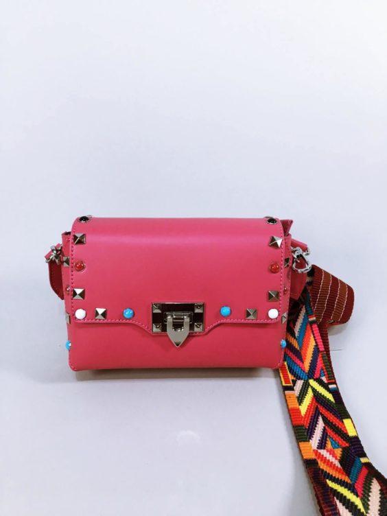 Kožená kabelka Sára růžová 01