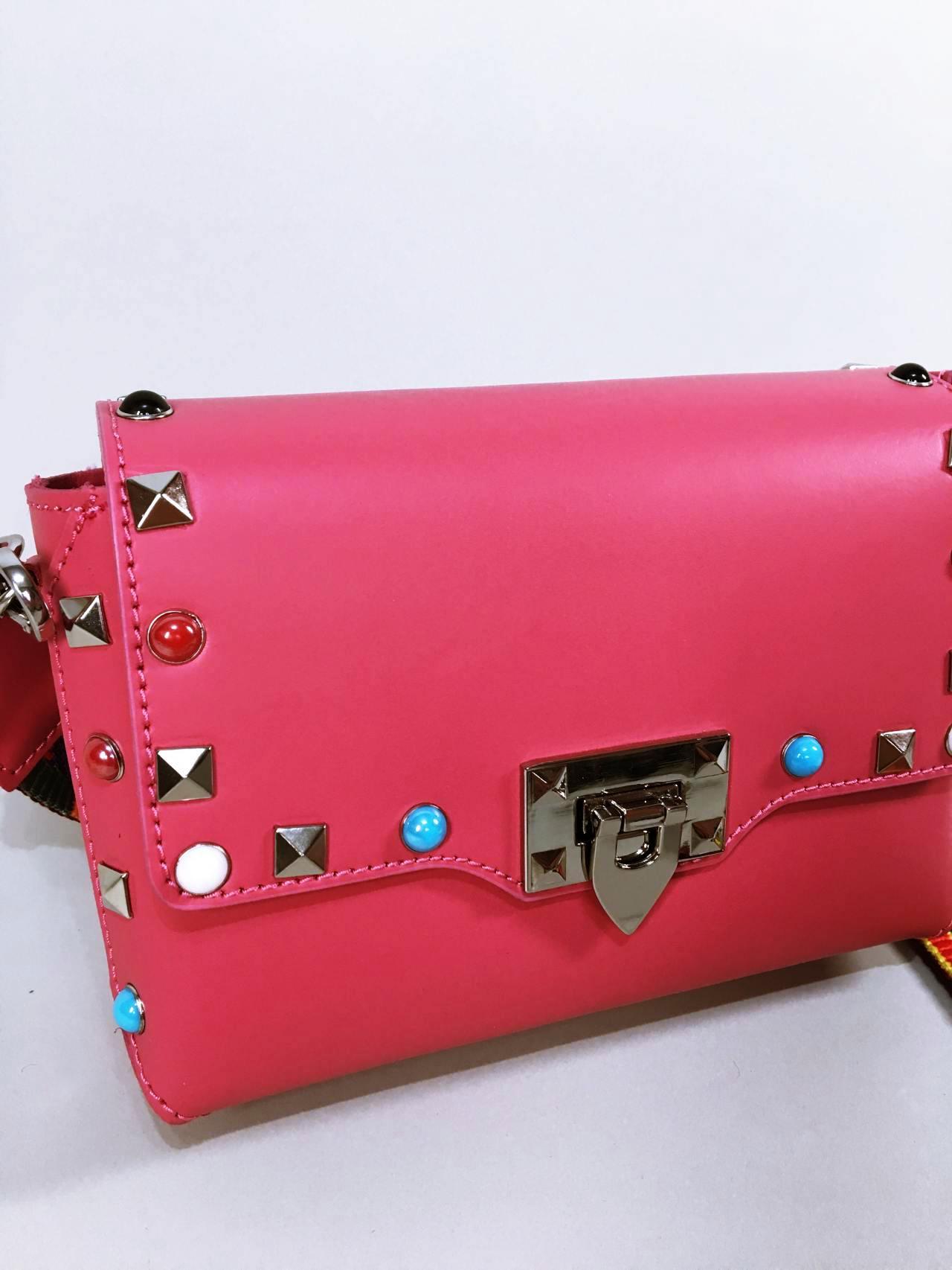 Kožená kabelka Sára růžová 02
