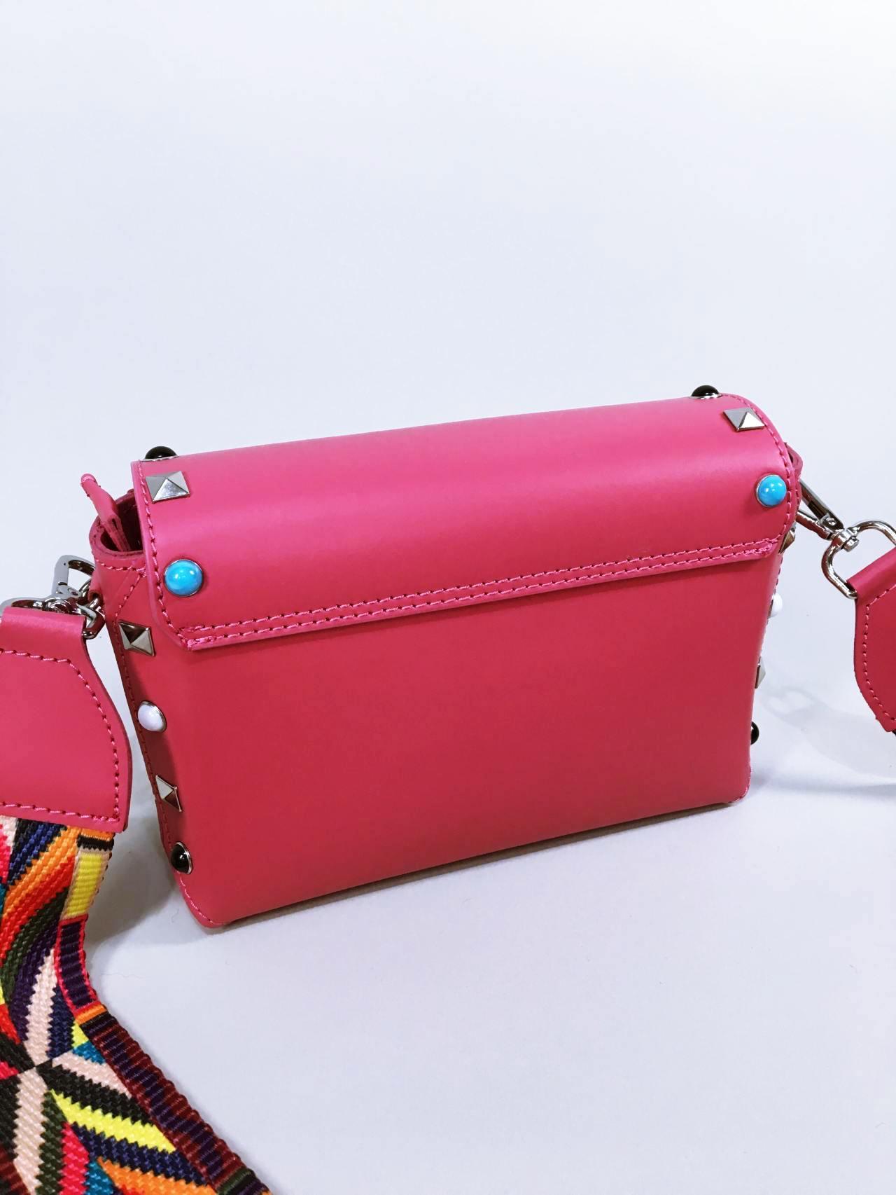 Kožená kabelka Sára růžová 03