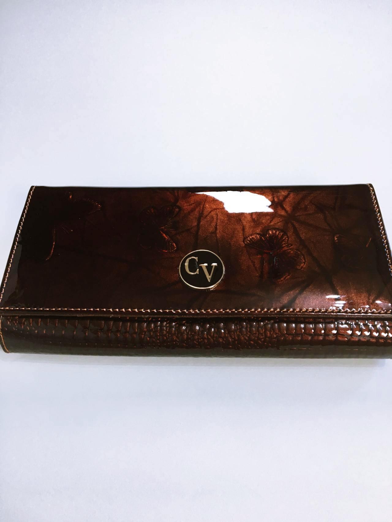 Kožená peněženka Cavaldi tmavě hnědá lesklá 01