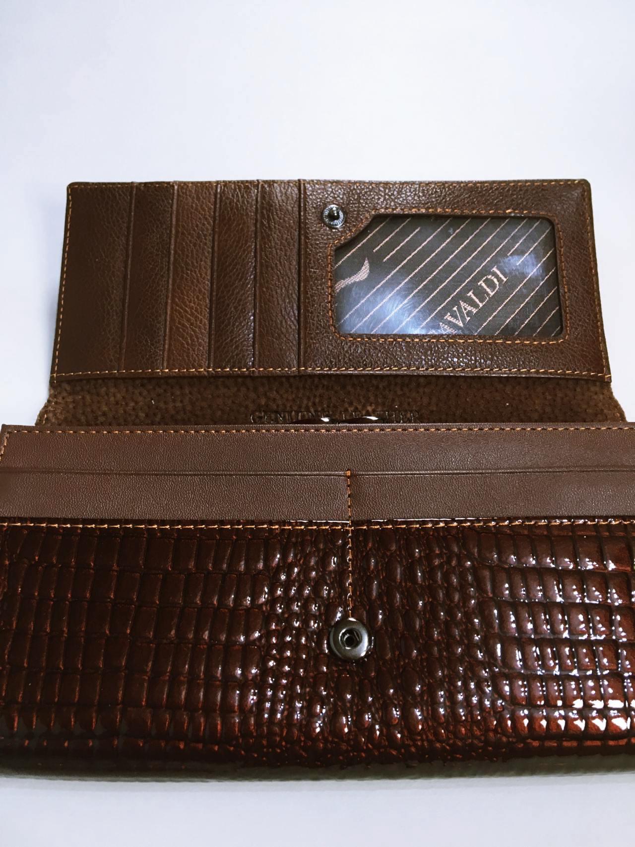 Kožená peněženka Cavaldi tmavě hnědá lesklá 03