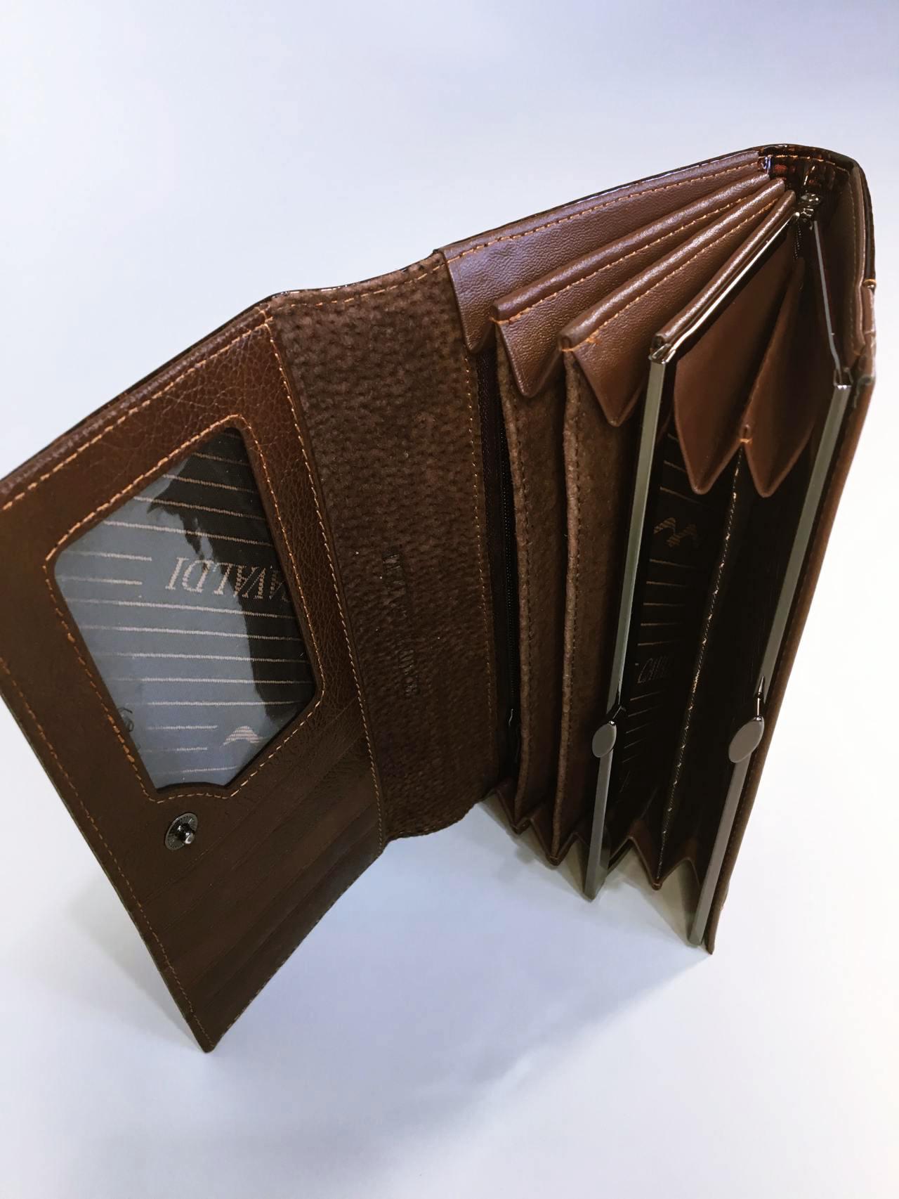 Kožená peněženka Cavaldi tmavě hnědá lesklá 04