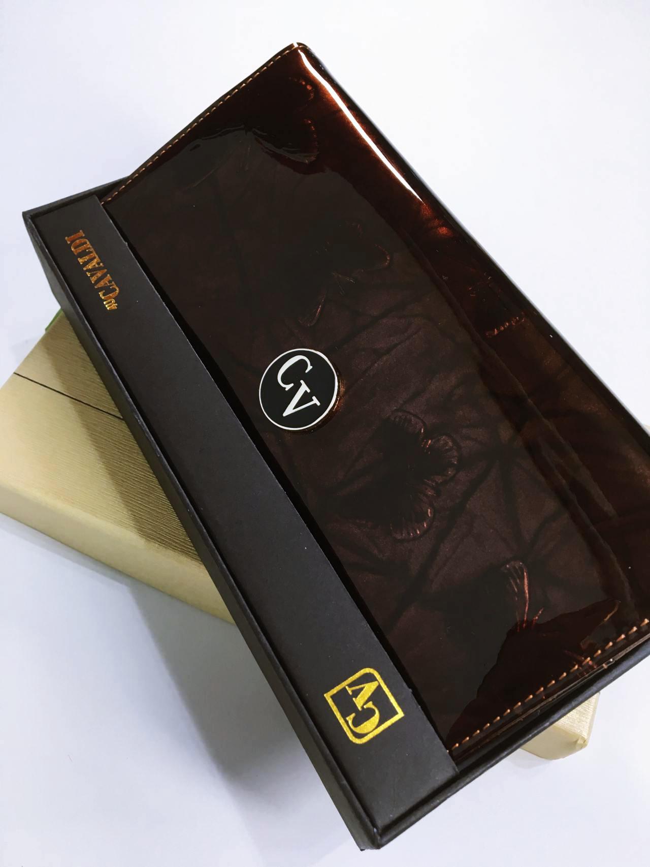 Kožená peněženka Cavaldi tmavě hnědá lesklá 06