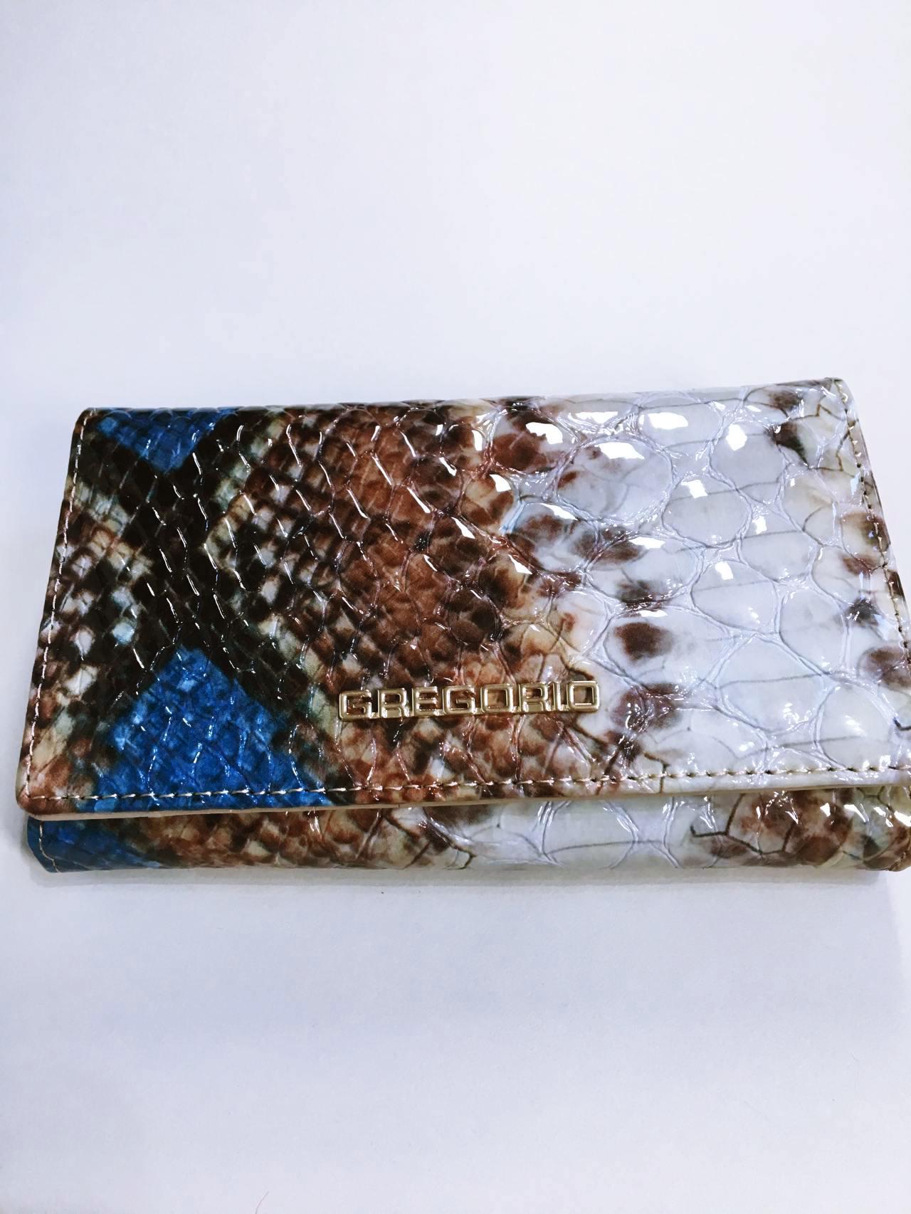 Kožená peněženka Gregorio Snake Skin modrá 01