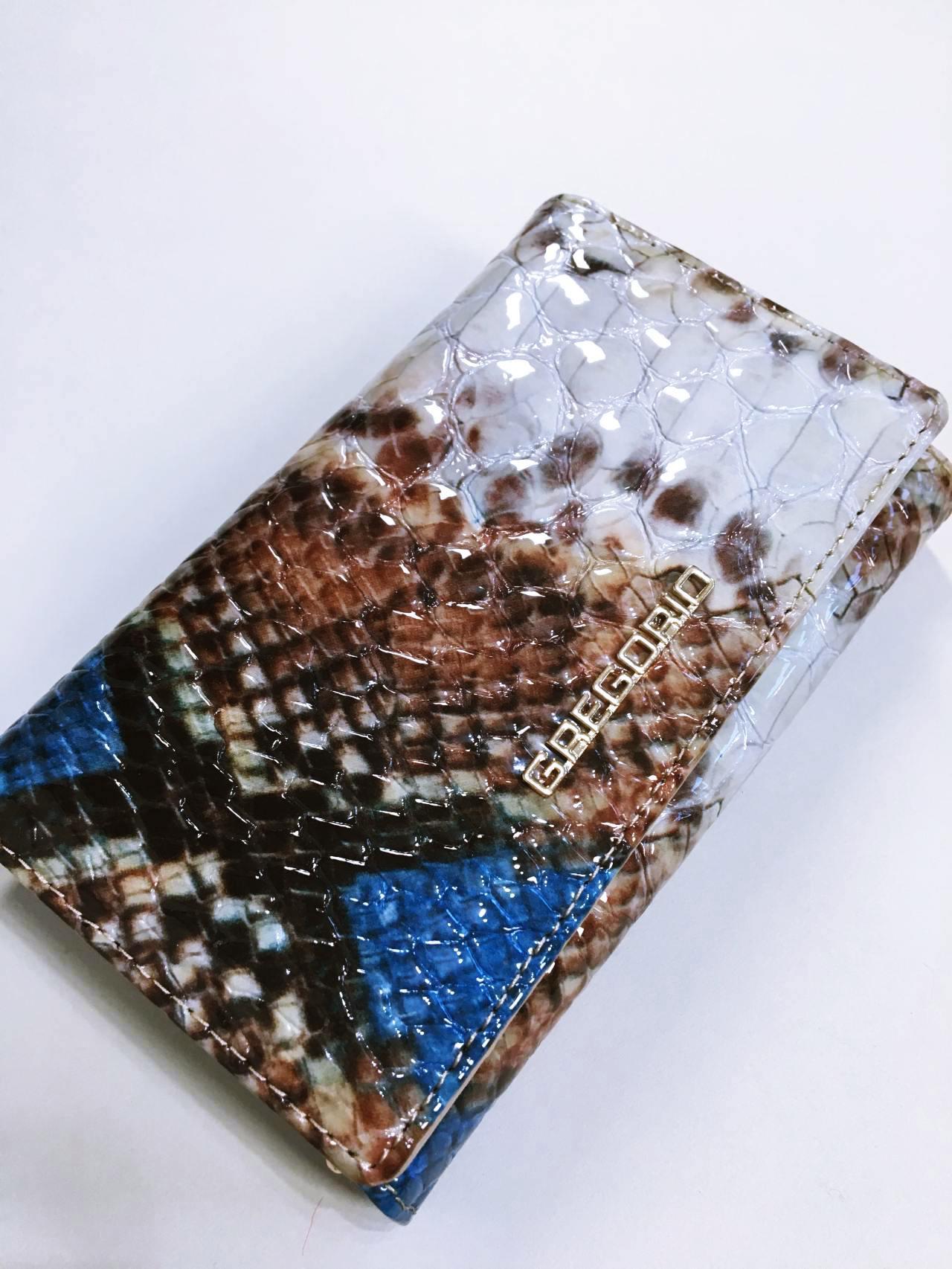Kožená peněženka Gregorio Snake Skin modrá 02