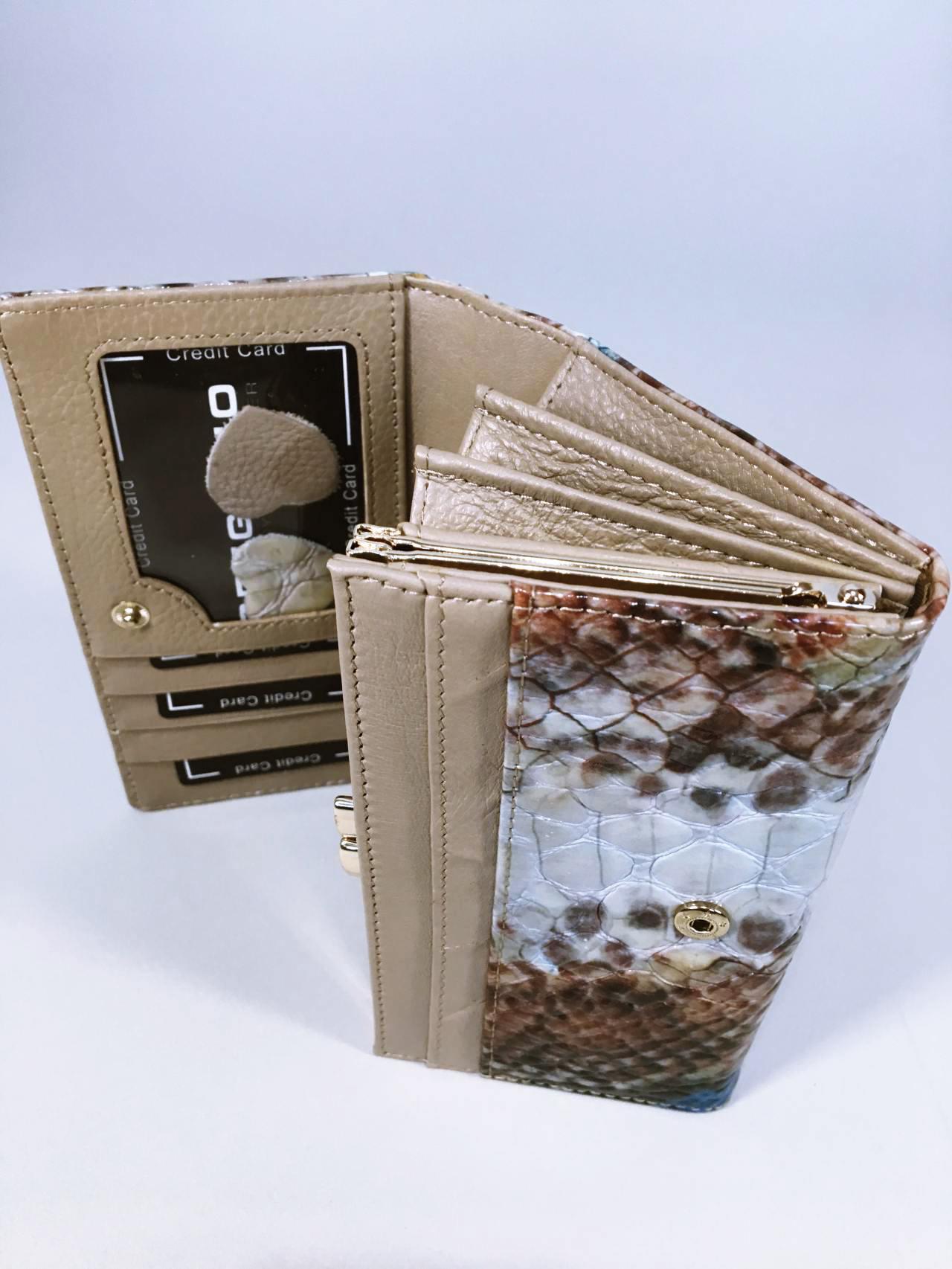 Kožená peněženka Gregorio Snake Skin modrá 05