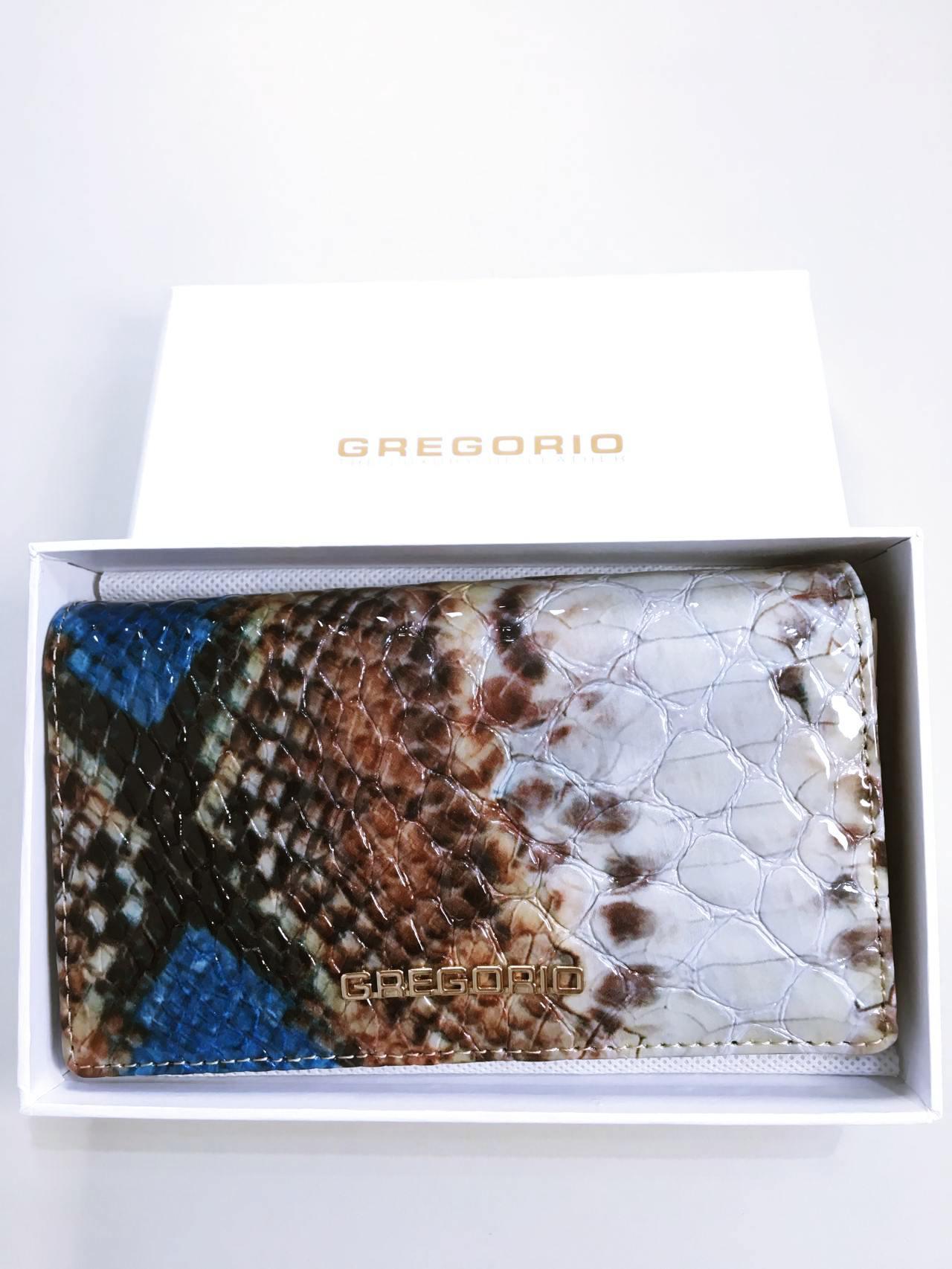 Kožená peněženka Gregorio Snake Skin modrá 07
