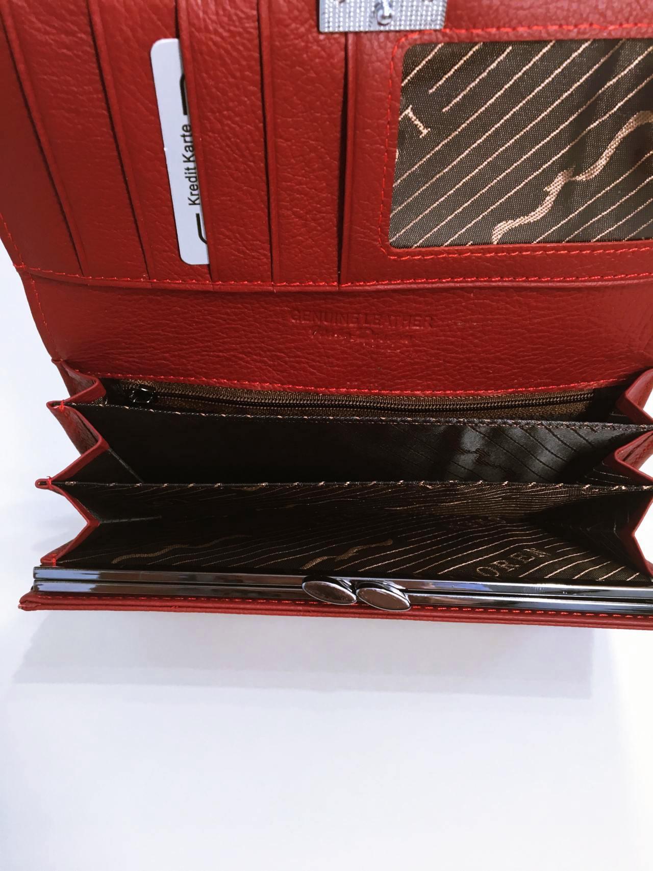 Kožená peněženka Lorenti B tmavě červená lesklá 06