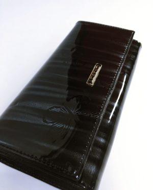 Kožená peněženka Lorenti černo šedá lesklá 02