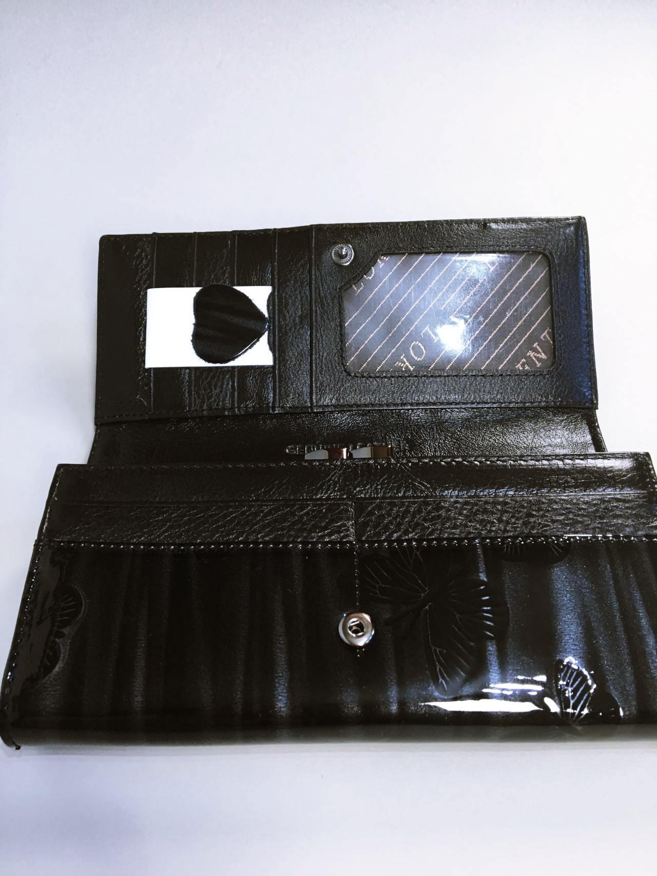 Kožená peněženka Lorenti černo šedá lesklá 03