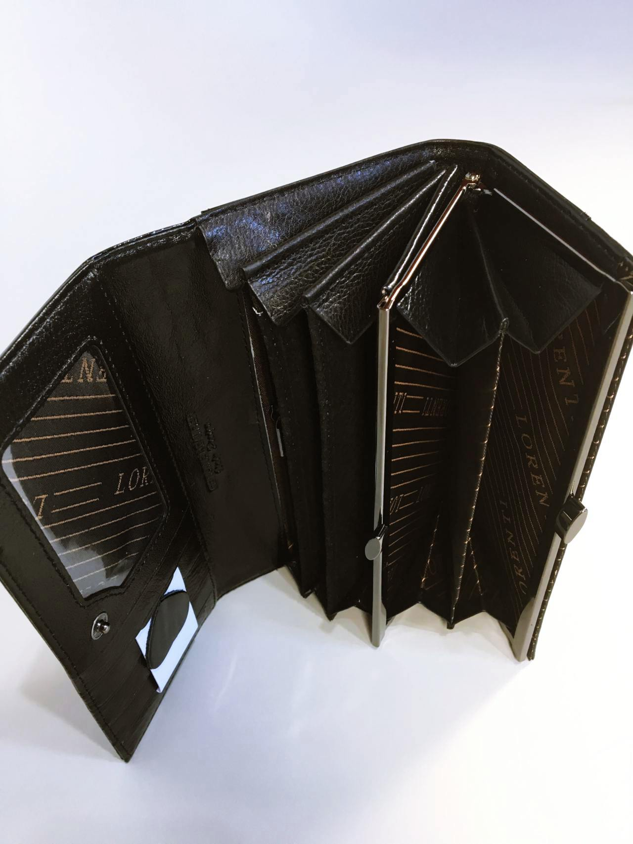 Kožená peněženka Lorenti černo šedá lesklá 04