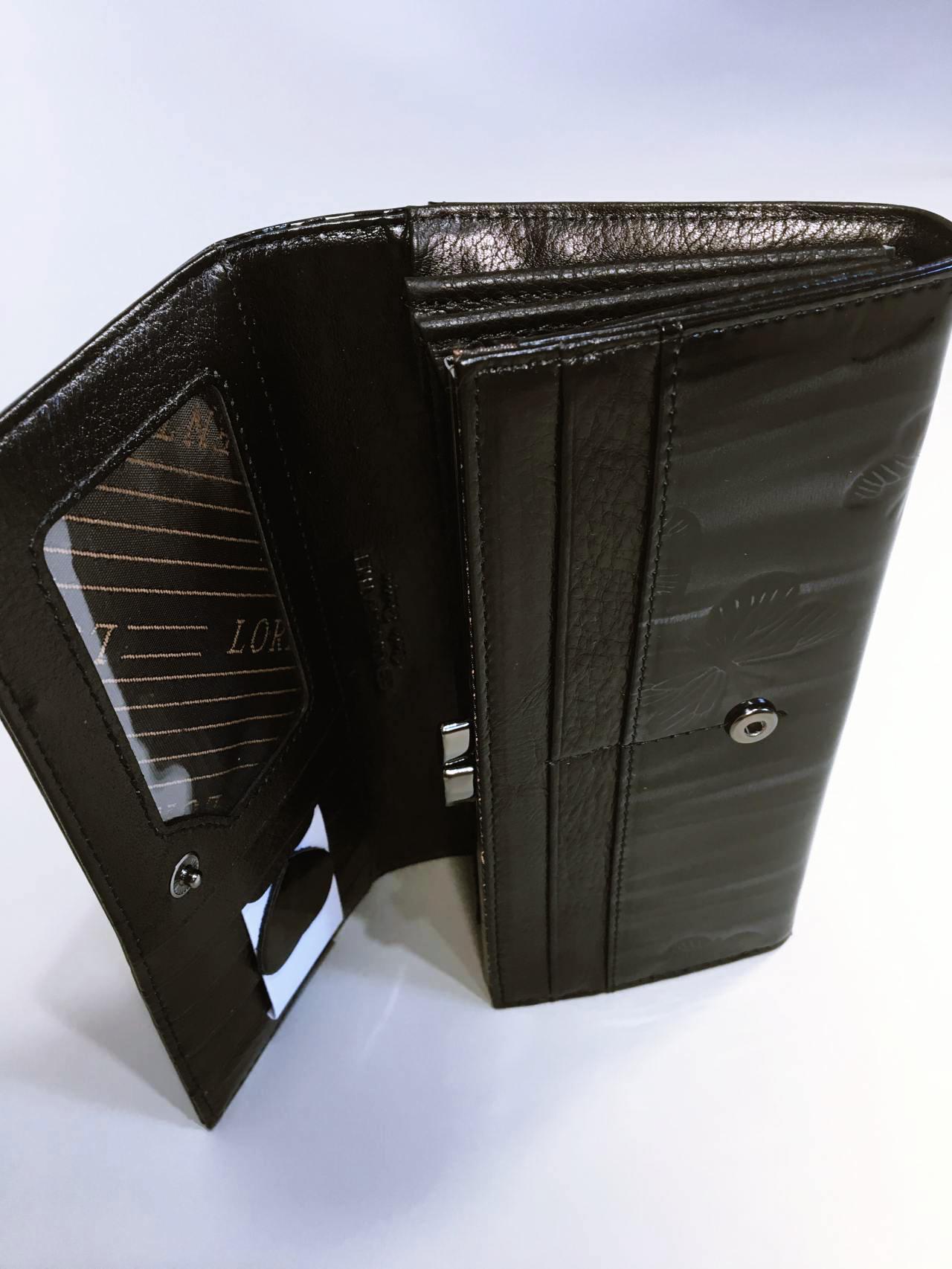 Kožená peněženka Lorenti černo šedá lesklá 05