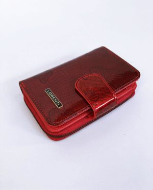 Kožená peněženka Lorenti tmavě červená lesklá 01