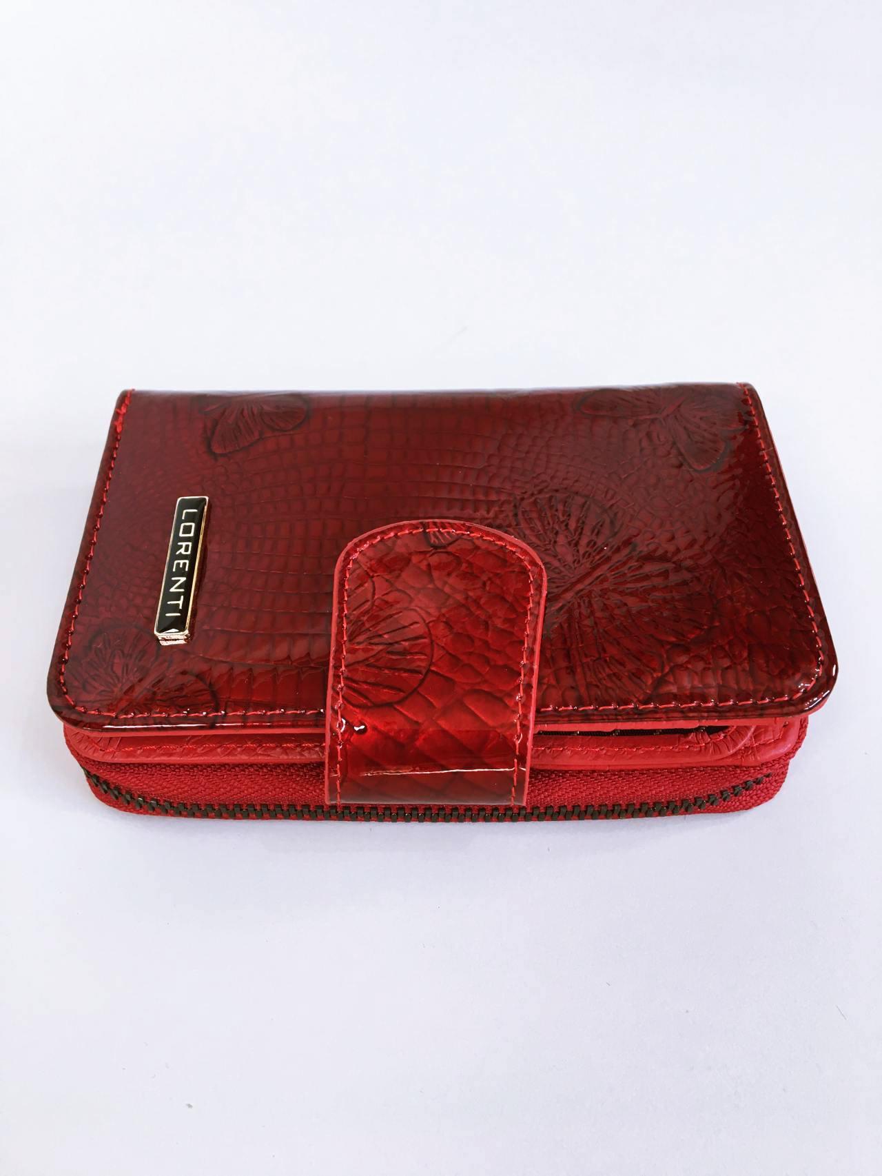 Kožená peněženka Lorenti tmavě červená lesklá 02