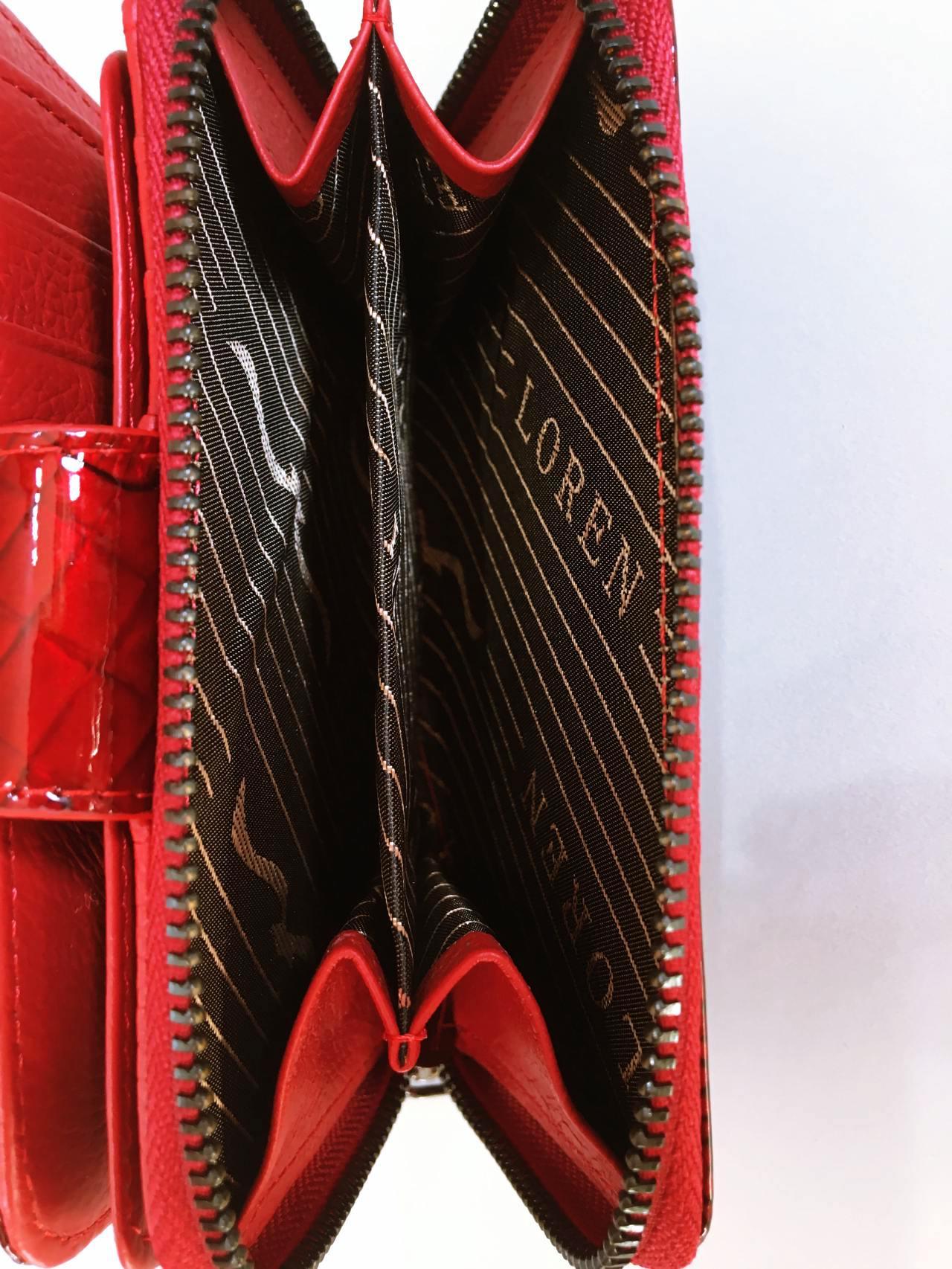Kožená peněženka Lorenti tmavě červená lesklá 04