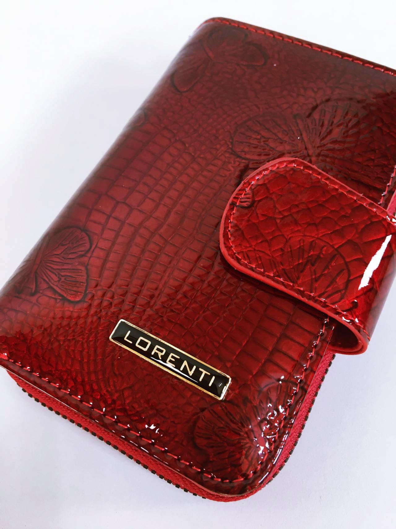 Kožená peněženka Lorenti tmavě červená lesklá 06