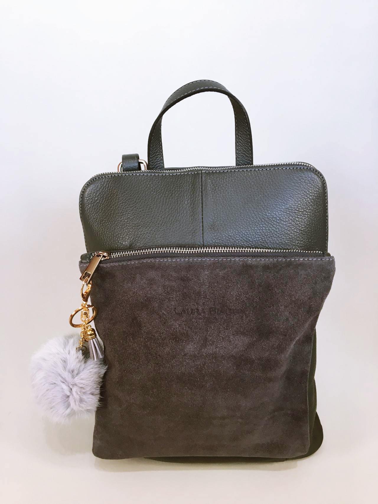 Kožený batoh Corry šedý 01