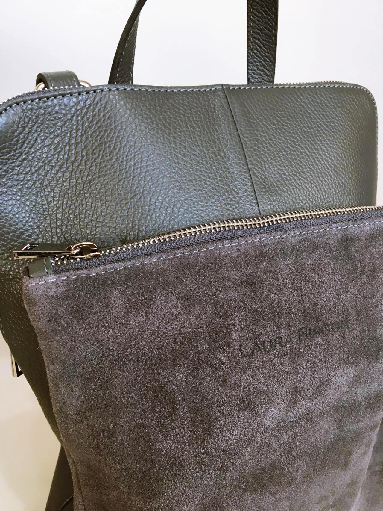 Kožený batoh Corry šedý 04