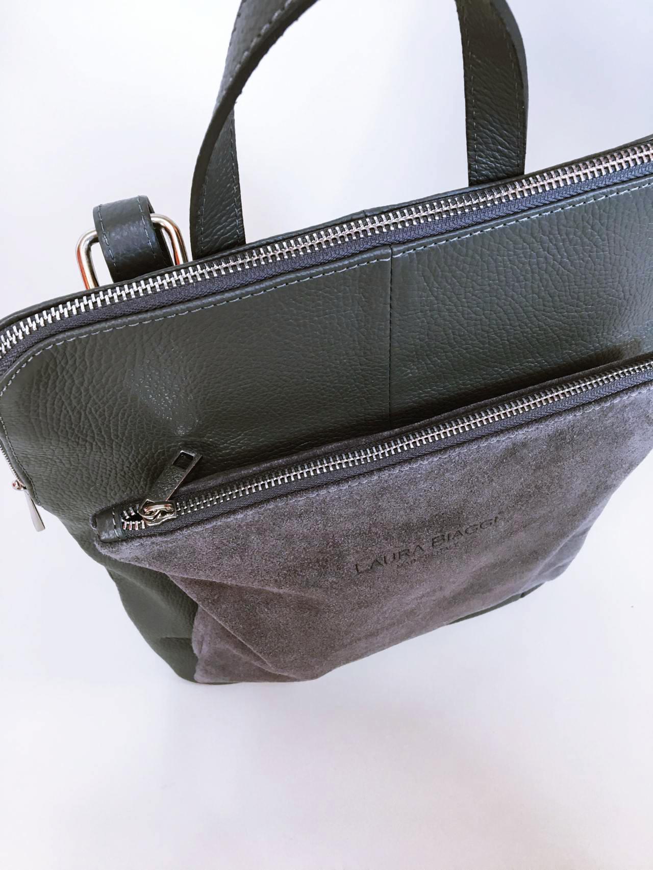 Kožený batoh Corry šedý 07
