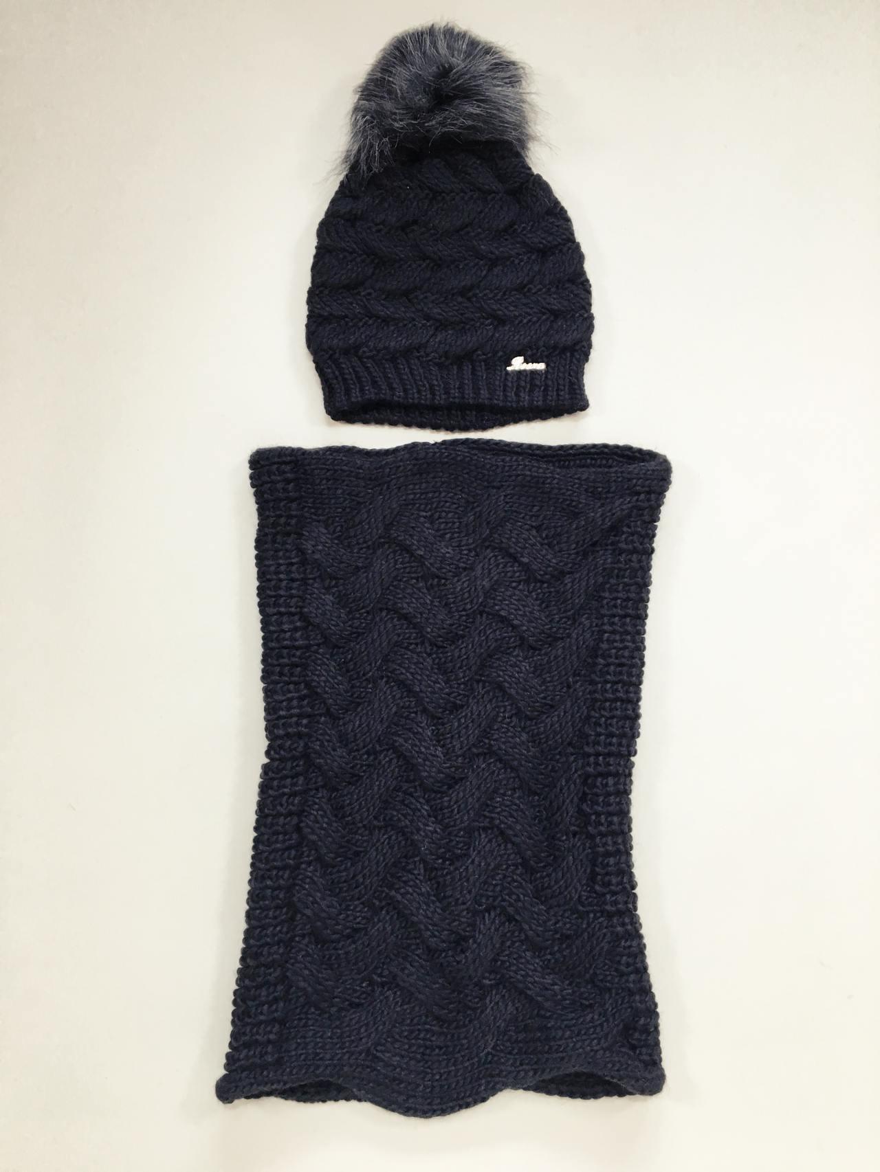 Pletený komplet čepice a nákrčník černá 03