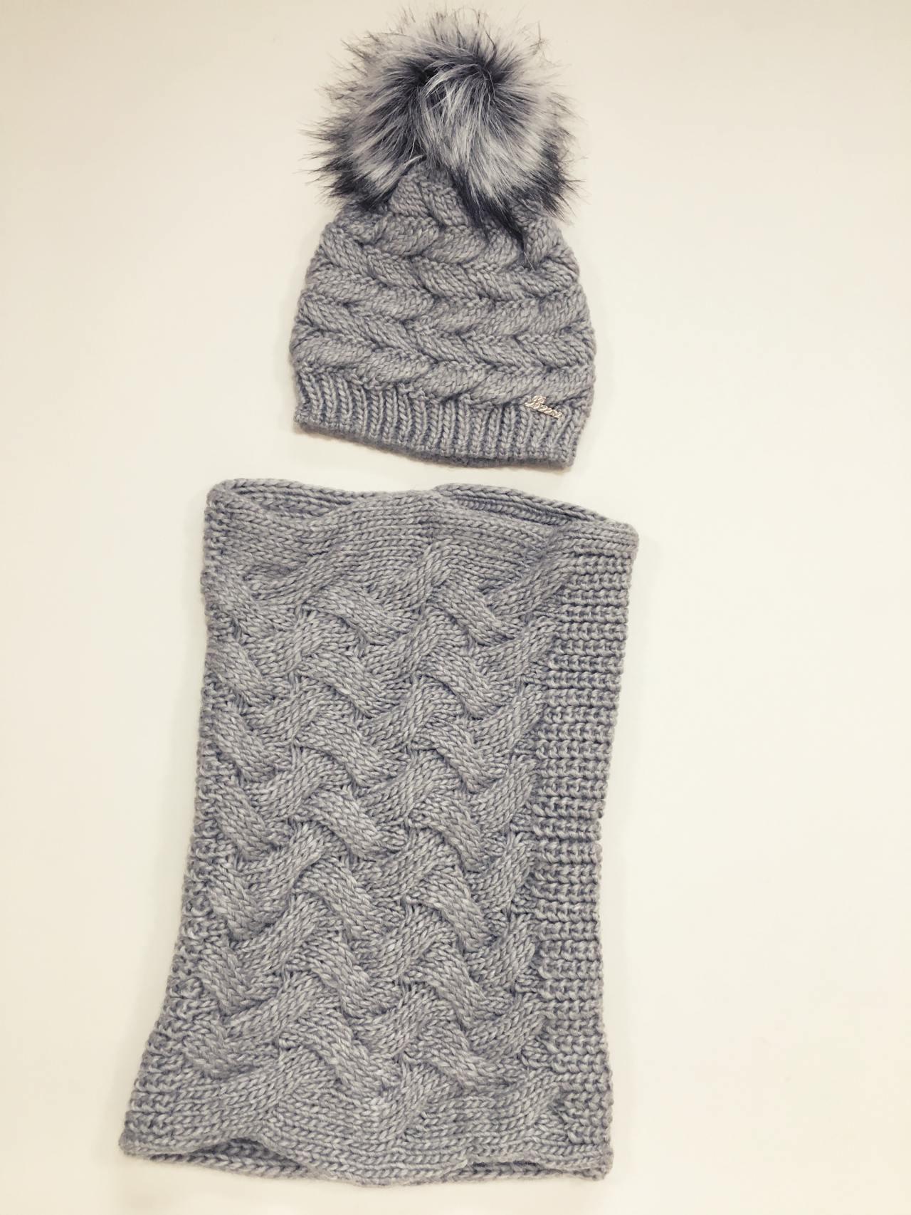 Pletený komplet čepice a nákrčník šedý 03