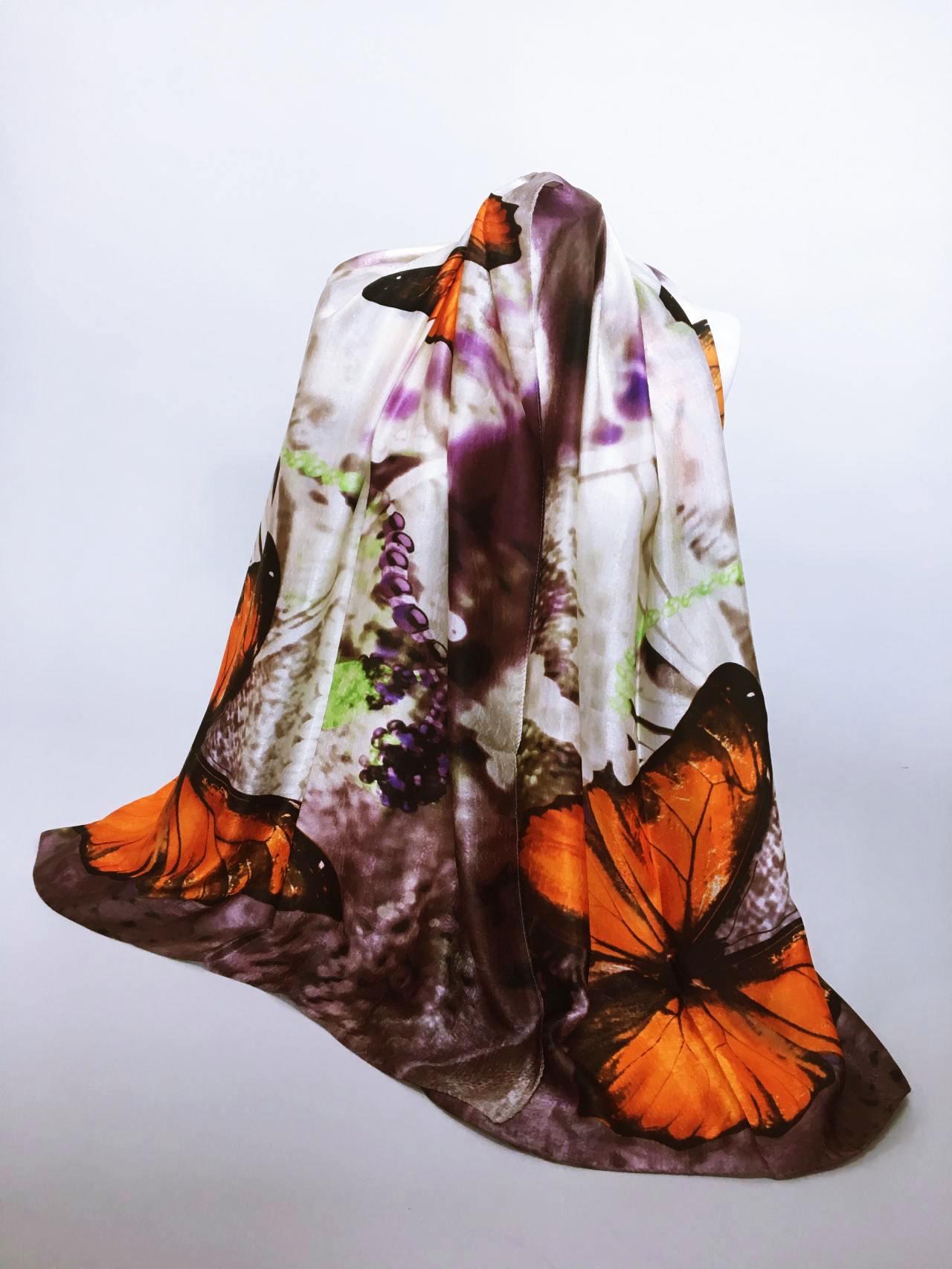 Šátek Butterfly oranžový 02
