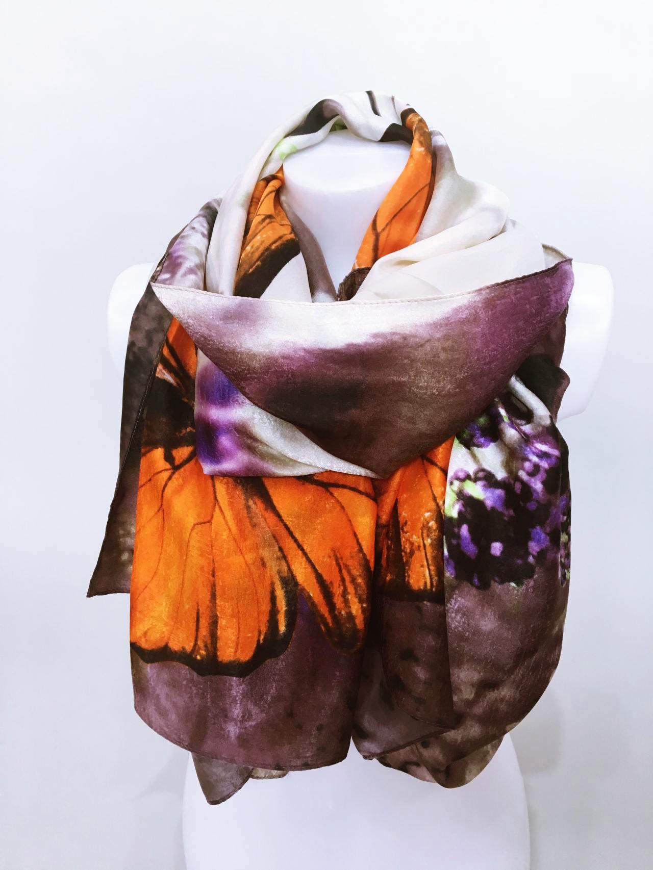 Šátek Butterfly oranžový 04