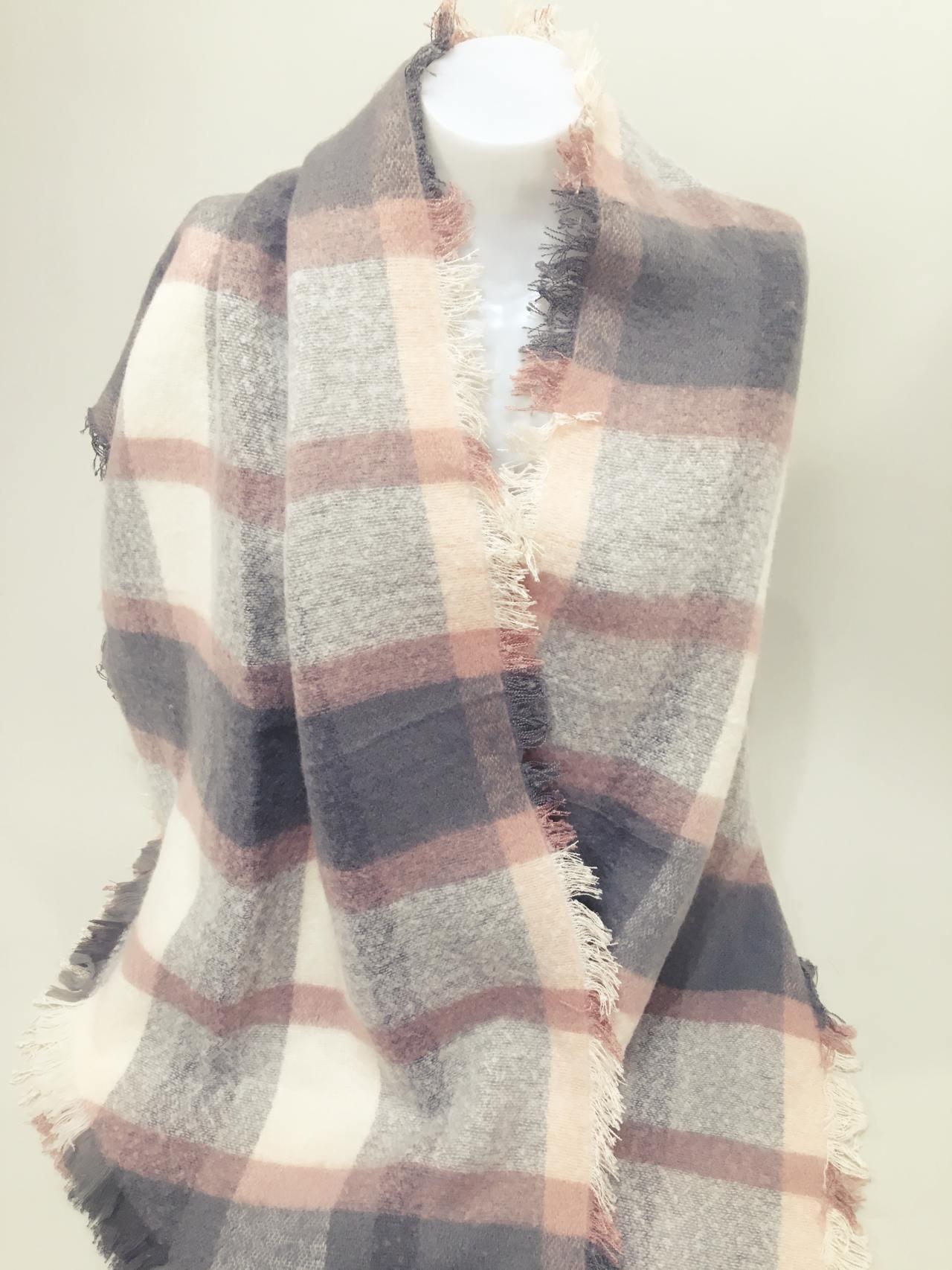 Teplá károvaná šála šedo růžová – Simm-Fashion.cz 175f716111