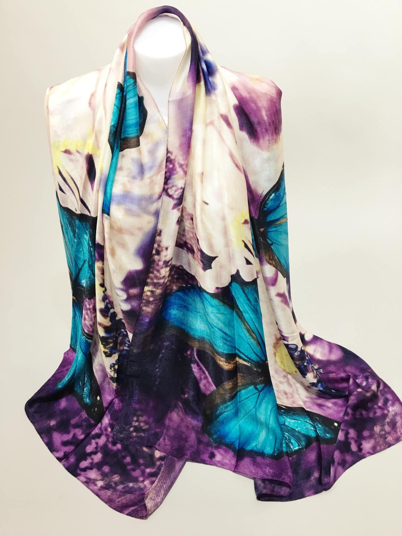 Šátek Butterfly modrý new 03