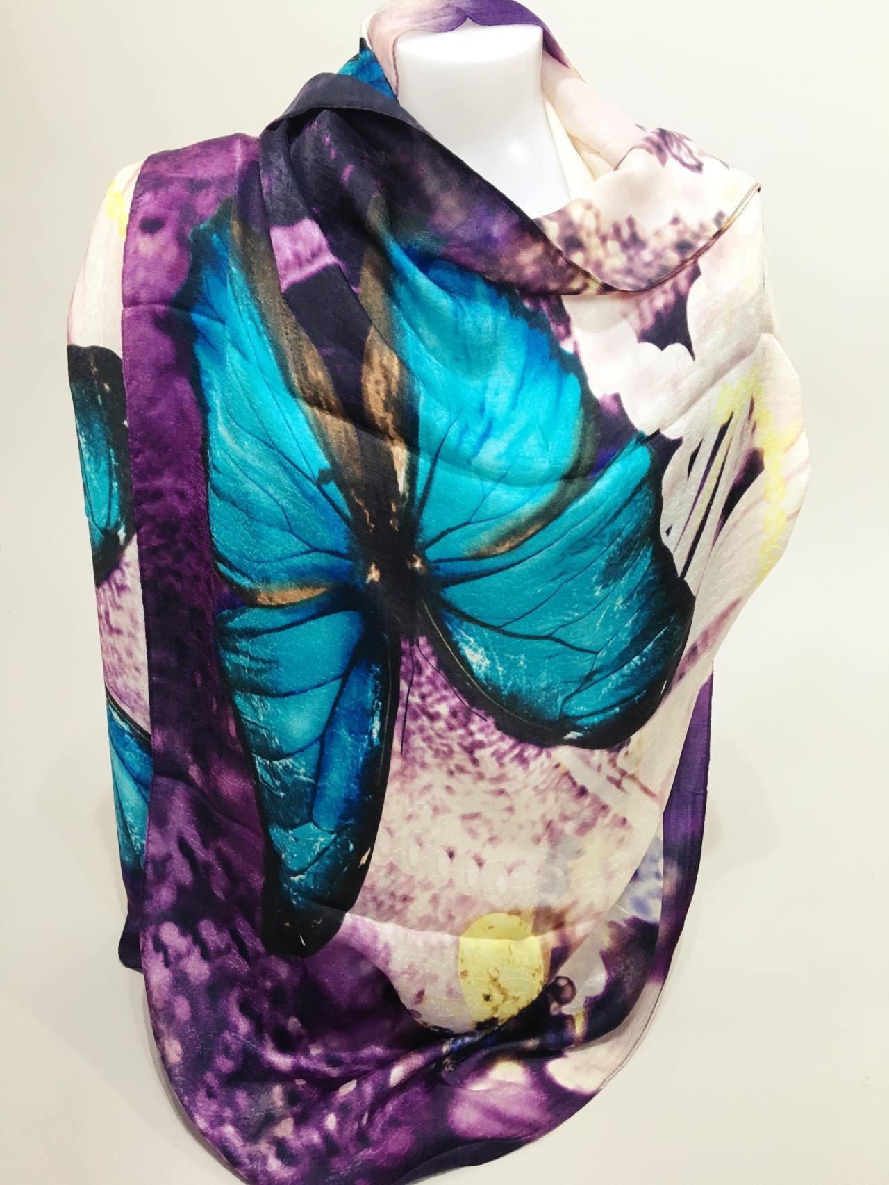 Šátek Butterfly modrý new 04