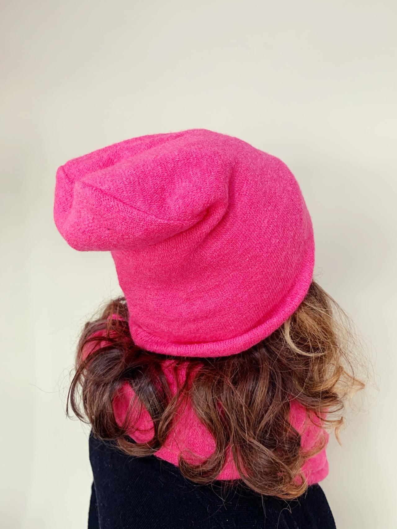 Komplet čepice a nákrčník pink -03