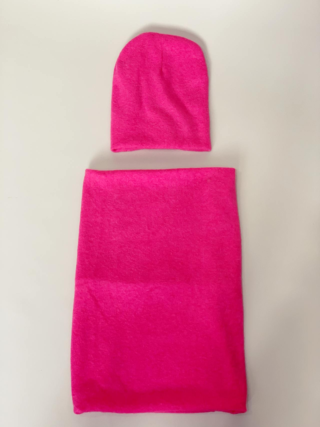 Komplet čepice a nákrčník pink -04