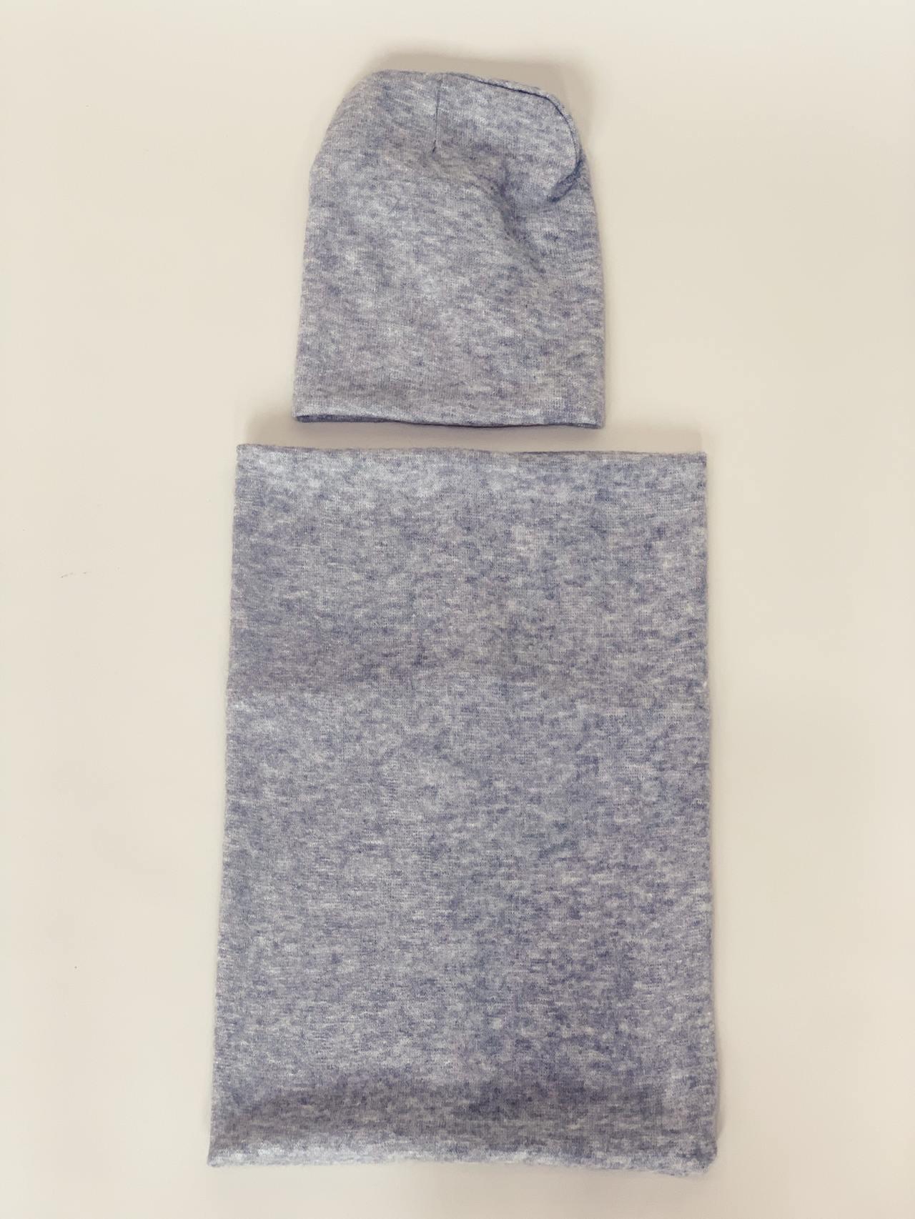 Komplet čepice a nákrčník šedý -03