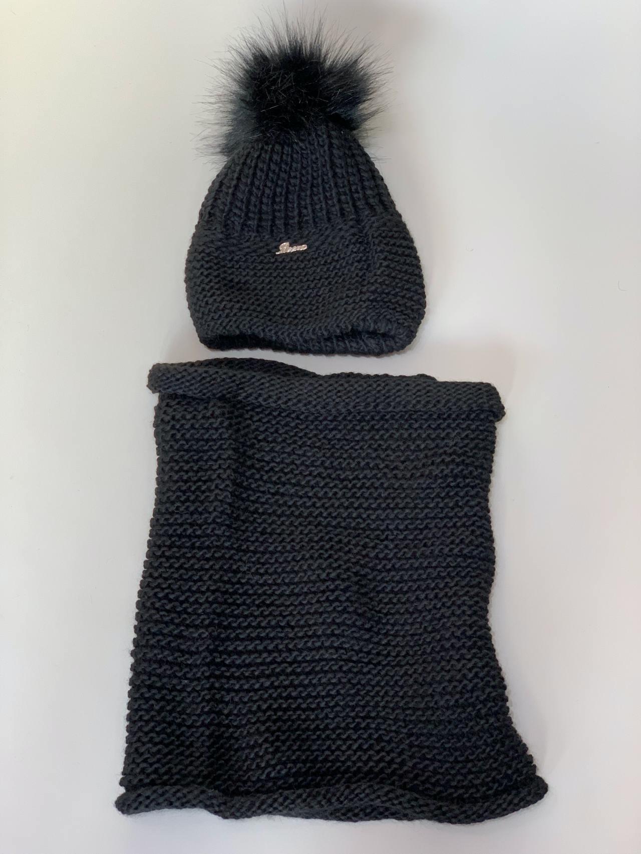 Komplet čepice a nákrčník s bambulí černý -03