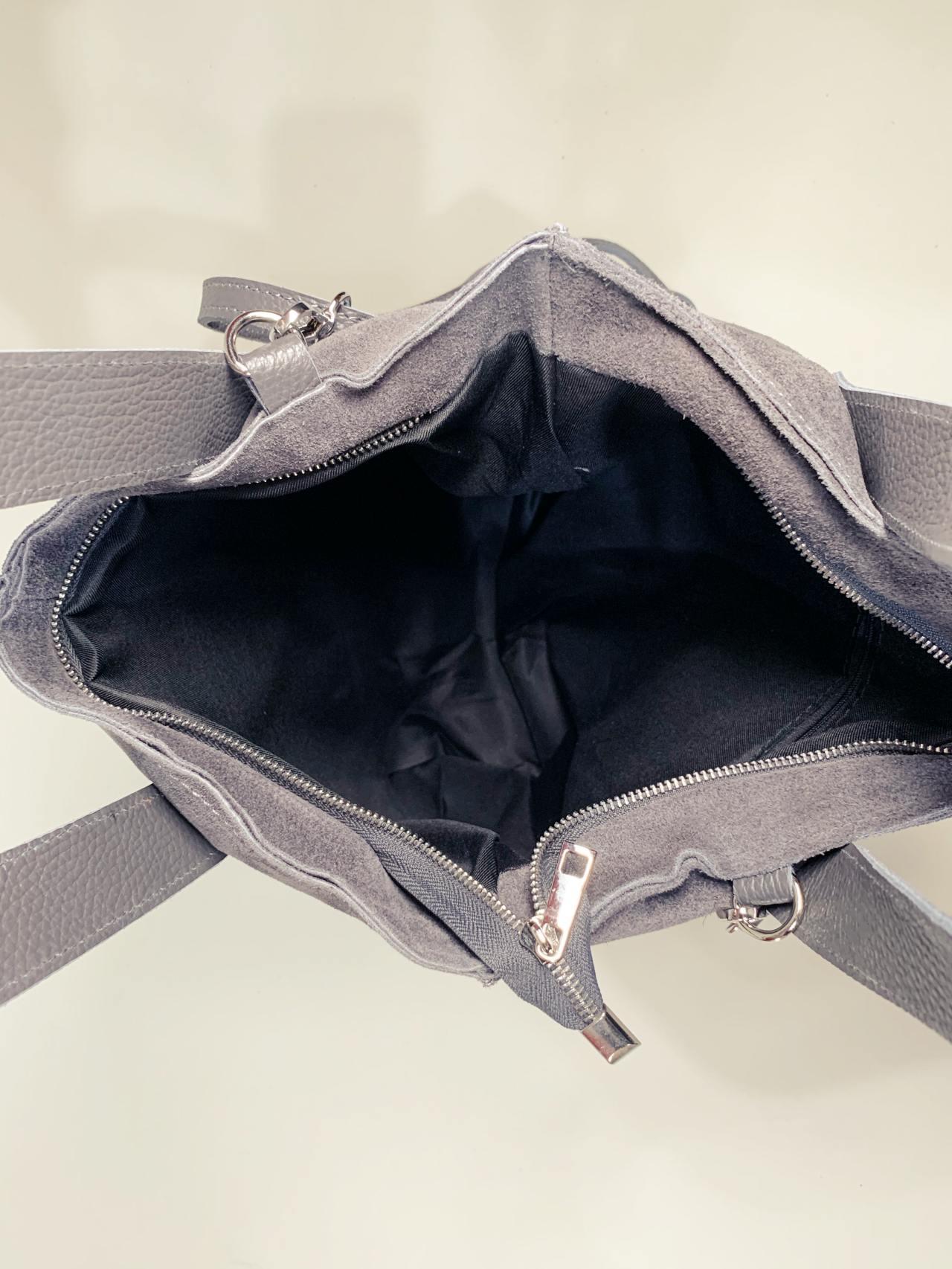 Kožená kabelka Cara šedá -05