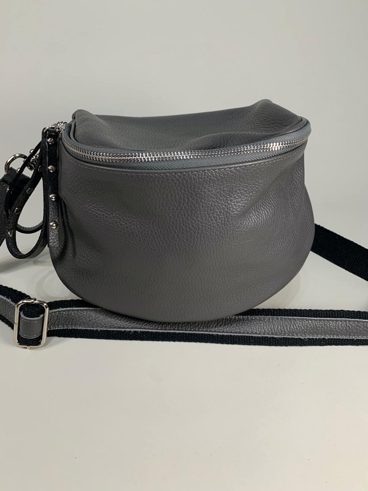 Kožená kabelka Jenny šedá -04