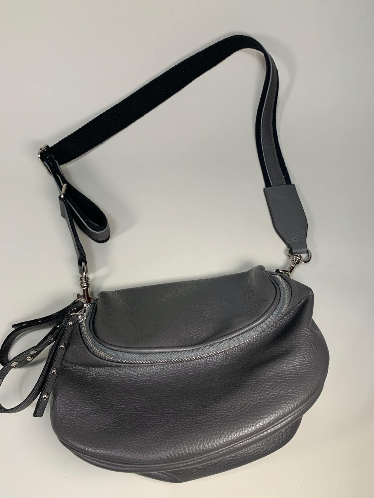 Kožená kabelka Jenny šedá -06