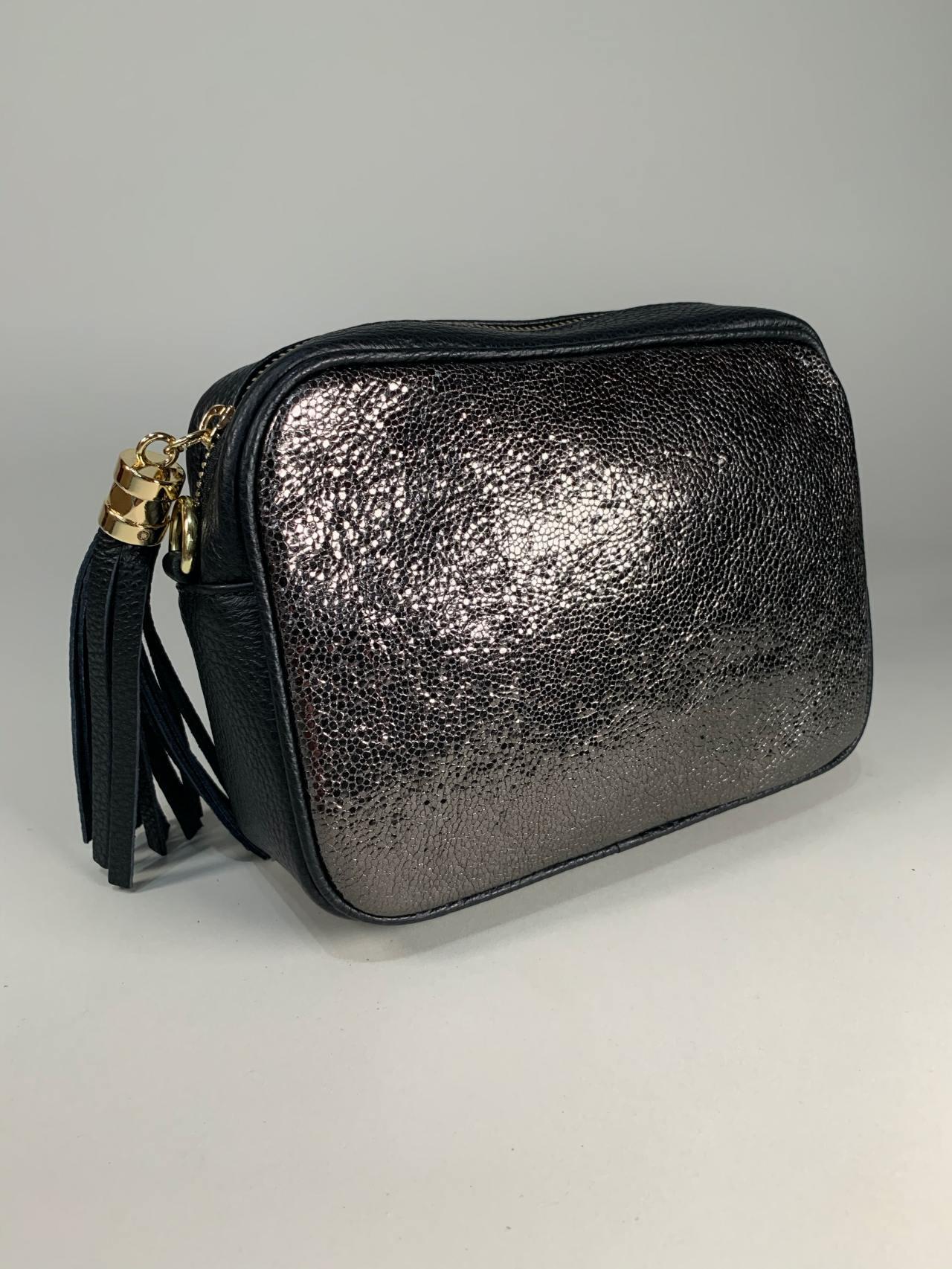 Kožená kabelka Lola černostříbrná -01