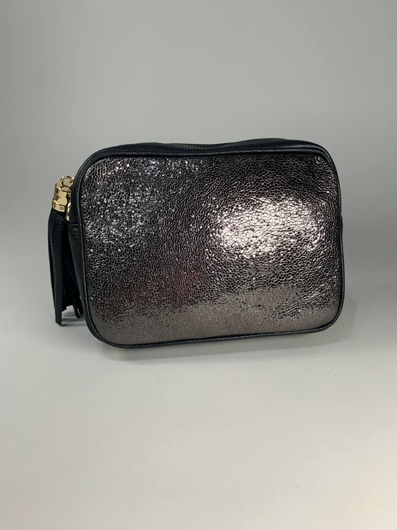 Kožená kabelka Lola černostříbrná -02