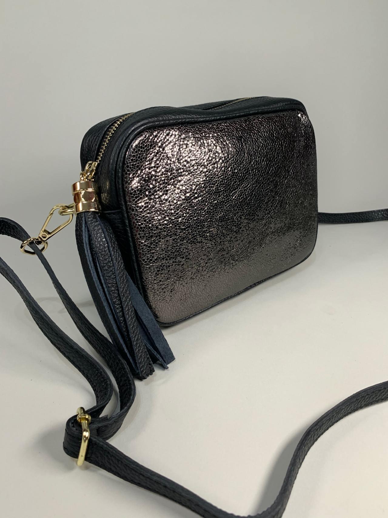 Kožená kabelka Lola černostříbrná -03