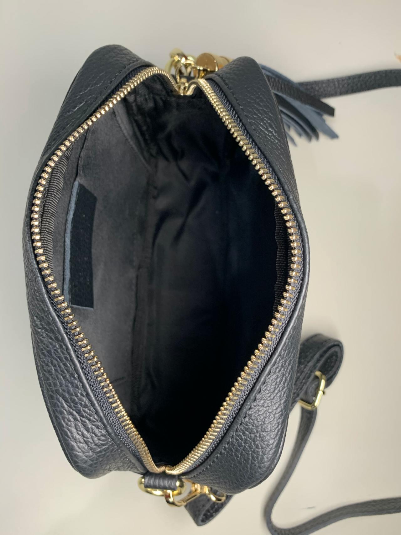 Kožená kabelka Lola černostříbrná -04