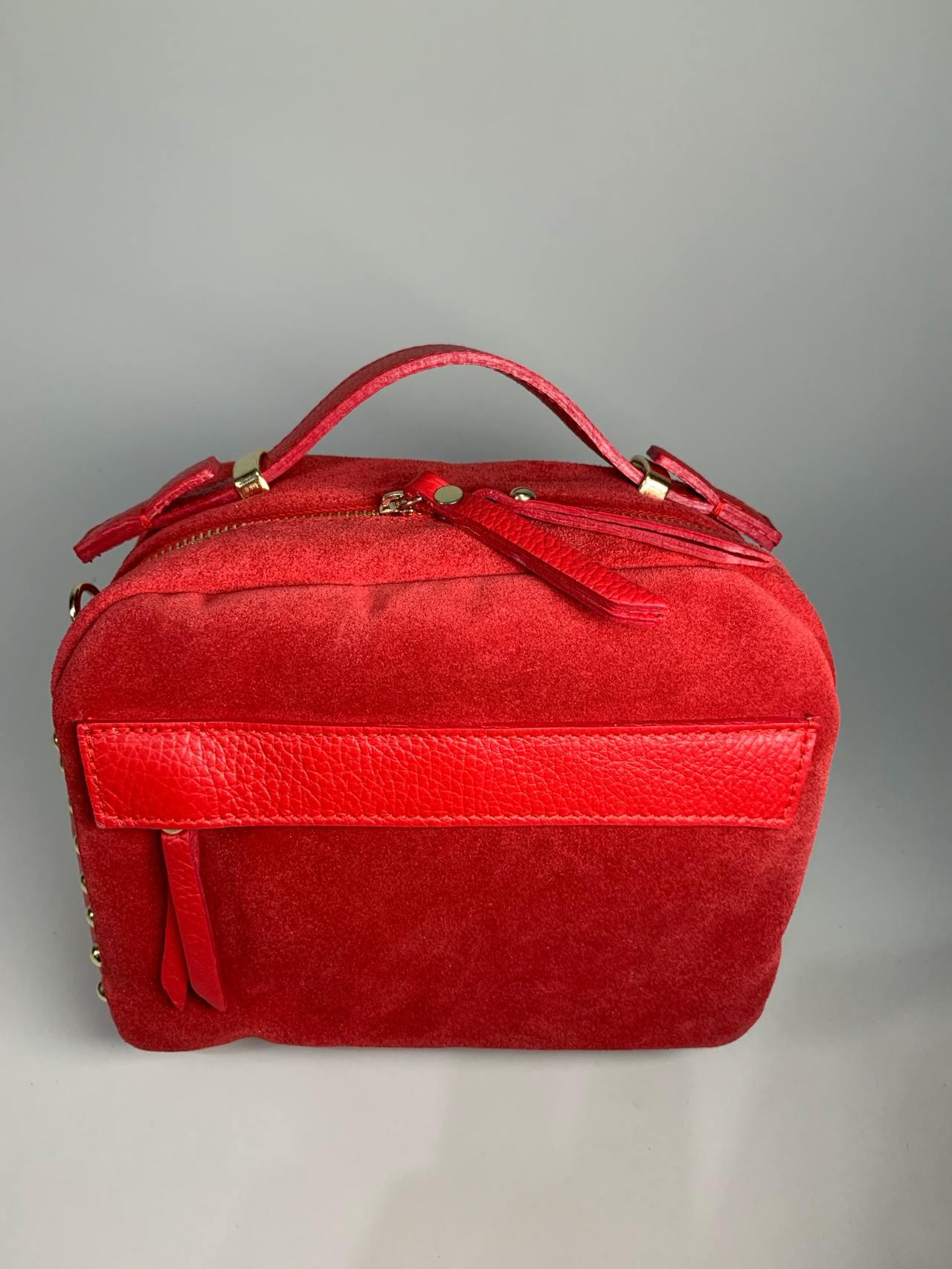 Kožená kabelka Saly červená -02