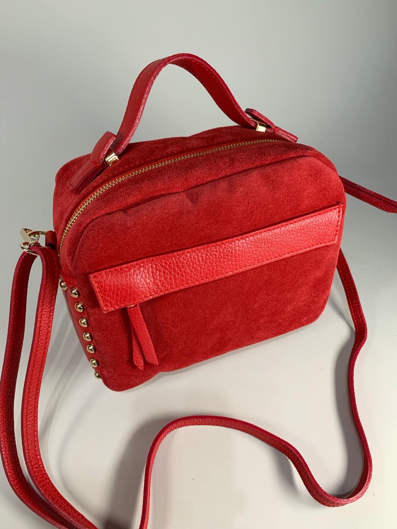 Kožená kabelka Saly červená -04
